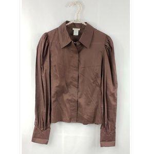 Jill Stuart Long Sleeve Cotton Button Down Blouse